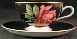Vintage Thomas Germany Black w/ Red/Pink Rose Gold Trim Cup & Saucer Rosenthal - $25.99