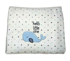 Just Born Hello Little One WHALE Polka Dot White Blue Blanket Sherpa 30x... - $19.35
