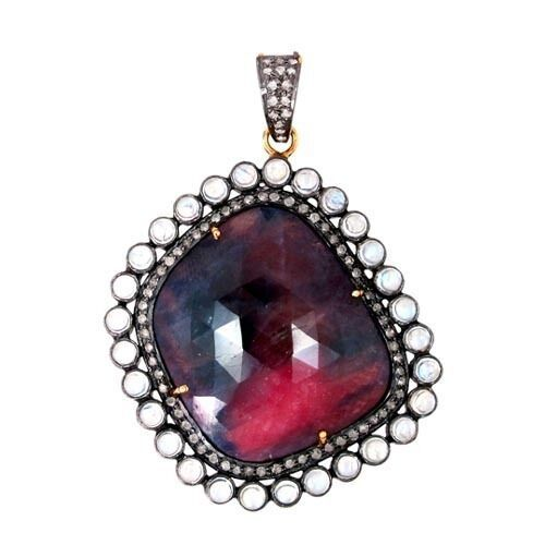 Primary image for Sapphire Gemstone Pendant 14k Gold Pave Diamond 925 Silver Vintage Style Jewelry