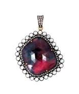 Sapphire Gemstone Pendant 14k Gold Pave Diamond 925 Silver Vintage Style... - $741.09
