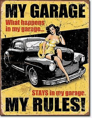 My Garage My Rules Pin-Up Girl Hotrod Metal Sign Tin New Vintage Style USA #1671
