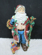 Ceramic/Resin Tall Santa with Walking Stick and Basket of Gifts Figurine... - $13.85