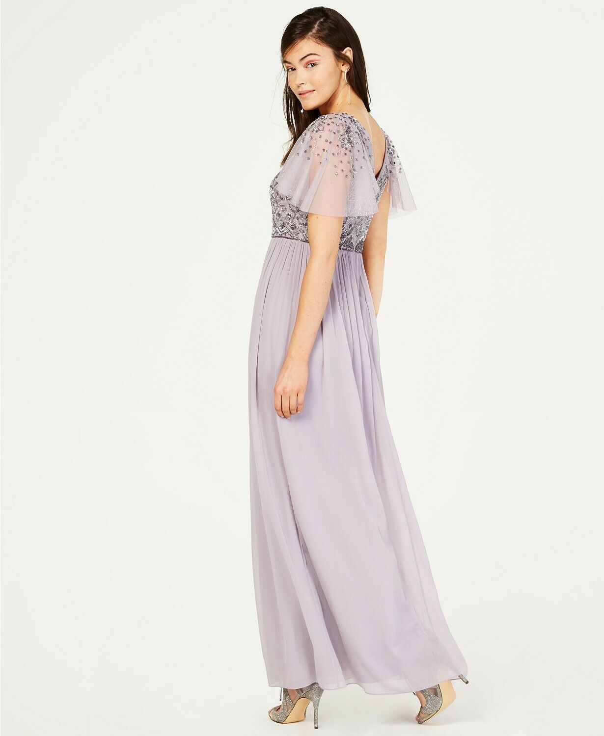 Adrianna Papell Illusion-Sleeve Beaded A-Line Gown Lilac Grey Size 6 $249 image 2