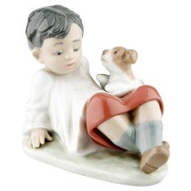 "Lladro #5988 ""Taking Time"" Boy Leaning Back with Dog Great Condition Ret... - $178.20"