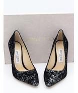 NIB Jimmy Choo Romy 100 Black Glitter Pump Heels 11 41 New - $392.31