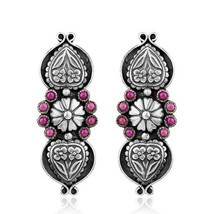 Antique Oxidized Hydro Pink Gemstone Floral Designer 925 Silver Earrings - $77.22