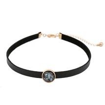 2017 Fashion Trend Black Imitation Leather Choker Necklace Round Charm W... - $9.76