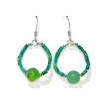 "Malachite Heishi/8mm Green Onyx Bead Ring 1"" Sterling Silver Drop Earrings - $18.99"