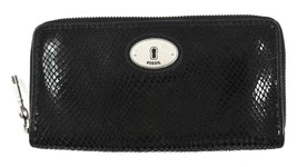 AUTHENTIC NEW NWT FOSSIL PERFECT CLUTCH BLACK LEATHER ZIP WALLET - $14.99