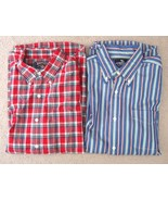 Lot Pre-Owned American Living Men Plaid Casual Button-Down Shirt Size L - $18.50