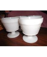 Anchor Hocking Grape Design MIlk Glass Footed Dessert Dishes (4) - $32.00
