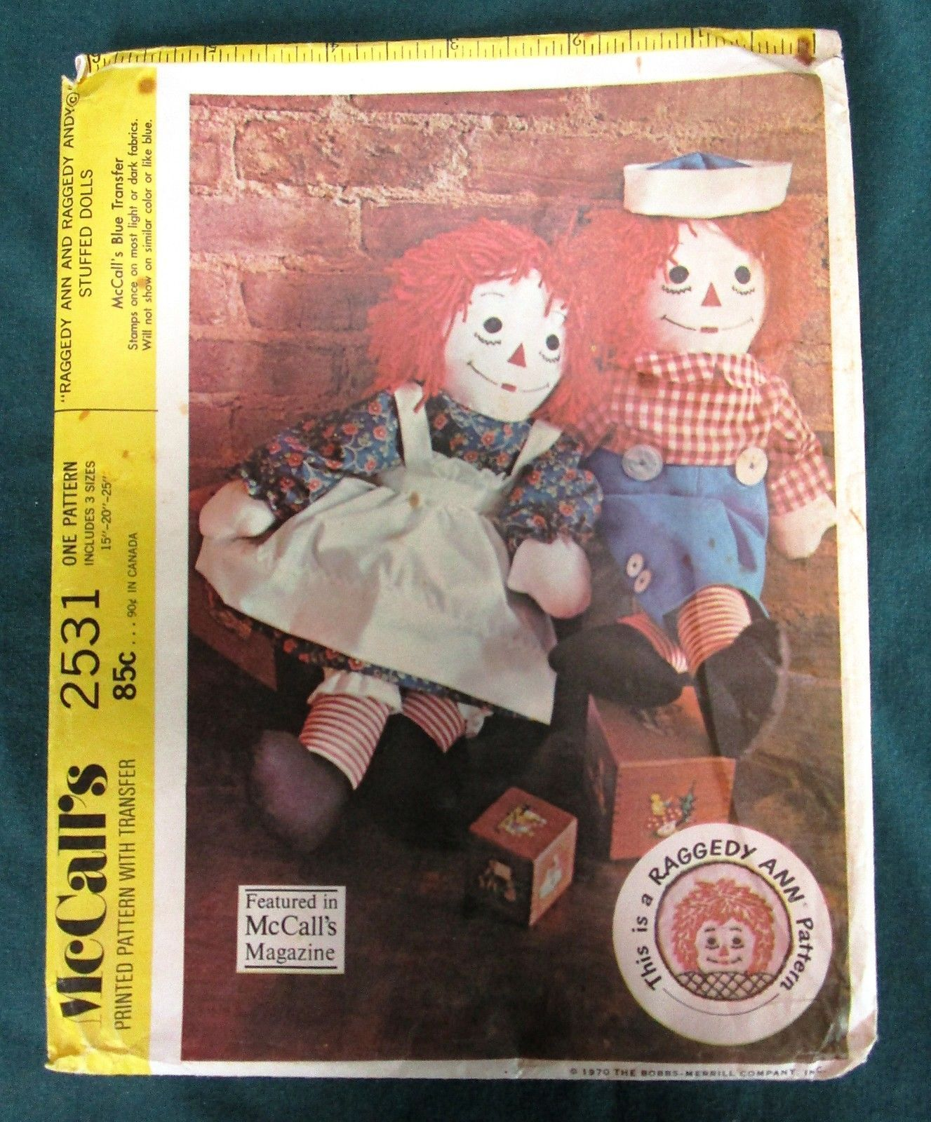 """McCall's 2531 RAGGEDY ANN & ANDY 15"""" 20"""" 25""""  Doll Clothes OOP"""