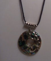 Genuine Natural Abalone Shell Donut Style Pendant On Black Cord Necklace - $10.99