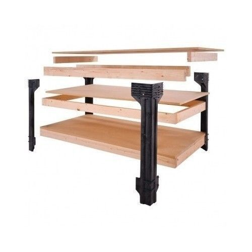 Work Bench Table Shop Garage Wood Tool Kit Storage Craftsman Legs Storage Shelf Boxes Cabinets