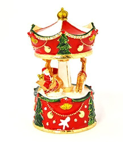 Ciel Collectables Holiday Carousal Trinket Box with Reindeers & Santa Clause on