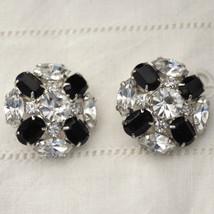 Vintage Prong Set Rhinestone French Jet Clip Earrings Black & White Form... - $25.60