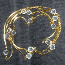 "Vintage Swarovski Crystal Open Back Bezel Necklace Openback Sautoir Necklace 30"" - $64.00"