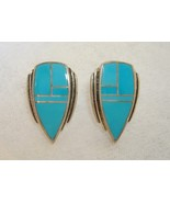 Arizona Blue Turquoise Chevron Earrings Handmad... - $175.00