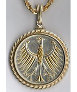 "German 5 mark Silver ""Gold & silver Eagle"" coin jewelry pendant necklace - $172.00"