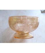 Depression Glass Jeannette Louisa Floragold blush Sherbet Dish - $20.00