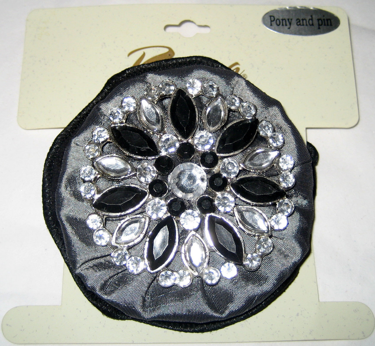 Riviera ponytail holder and/or brooch pin black grey silver crystal trim NEW $11 Riviera