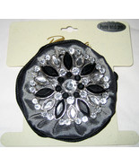 Riviera ponytail holder and/or brooch pin black grey silver crystal trim... - $6.00