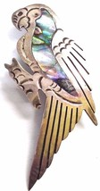 VINTAGE STERLING SILVER MEXICO PARROT ABALONE PIN EAGLE MARK 3  MB 925 - $19.11