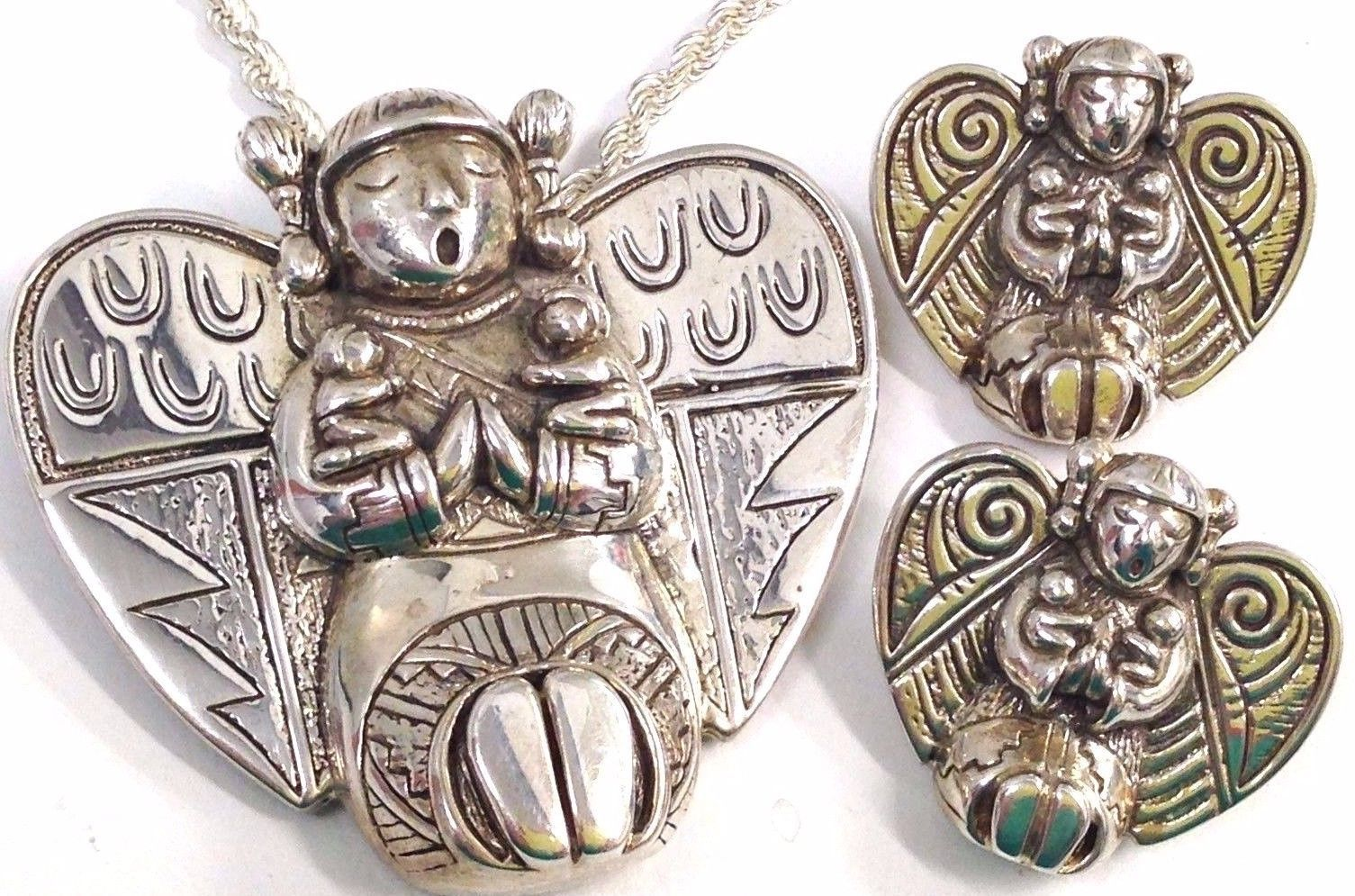Sterling Silver Carol Felley STORYTELLER angel pin/ pendant necklace earrings se