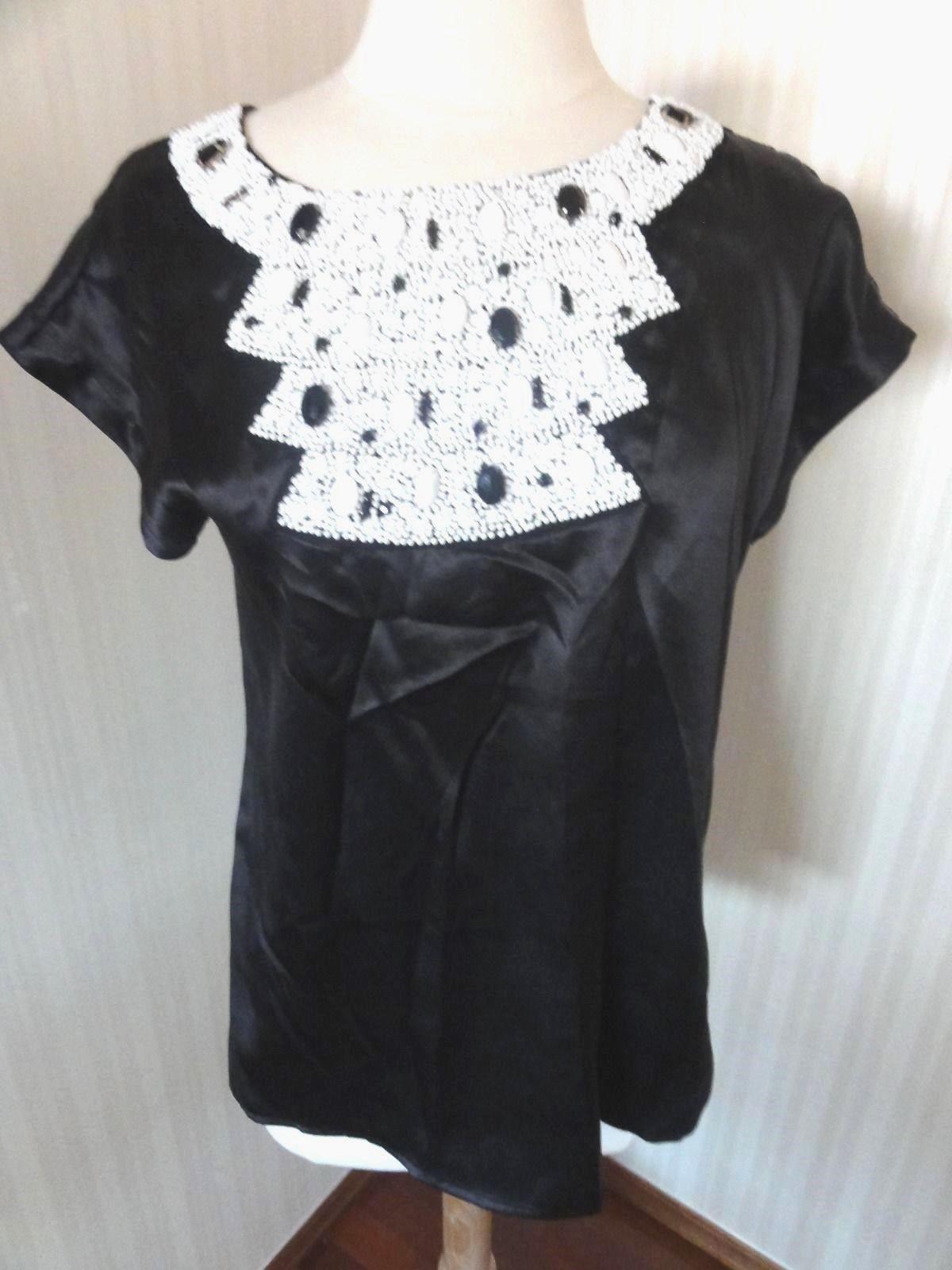 Kas Designs Blouse NWT Ladies Size M Black Silk Women shirt White jeweled