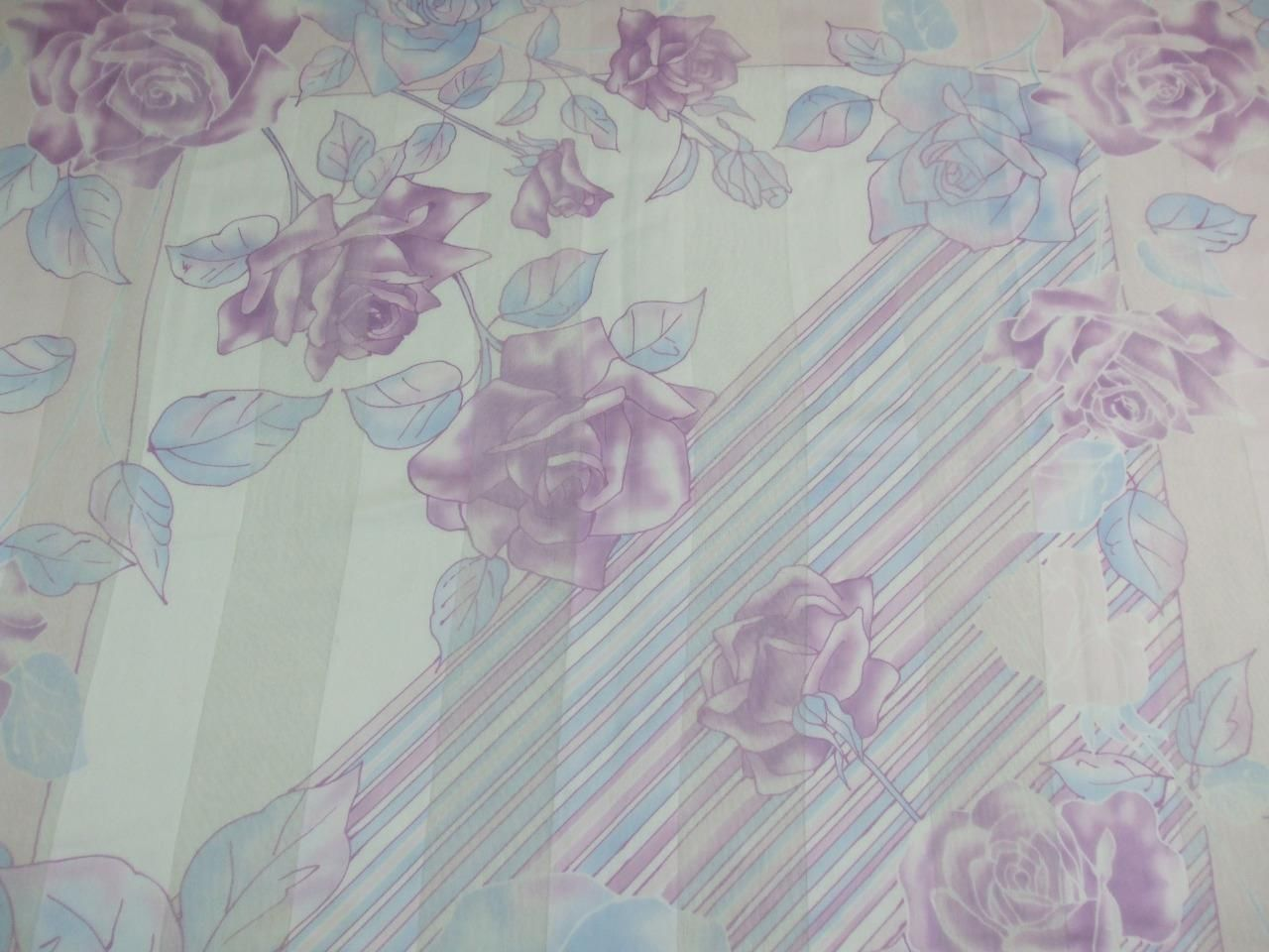 "Primary image for Scarf Wrap Shawl Semi Sheer Pastels Mauve Blue Roses Italy Tie Rack 34"" x 34"""