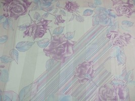 "Scarf Wrap Shawl Semi Sheer Pastels Mauve Blue Roses Italy Tie Rack 34"" ... - £7.44 GBP"