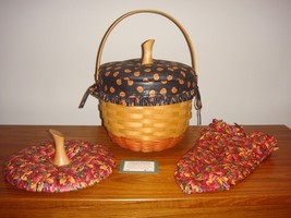 Longaberger 1997 Large Halloween Pumpkin Basket Plus Lids - $158.99