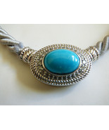 Judith Ripka Sterling Silver 925 Silver Gray Braid Silk Cord Turquoise p... - $118.80