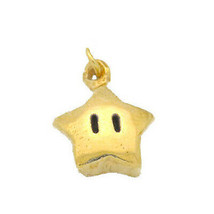LOOK Super Mario Star power 24kt gold plated real Sterling silver 925 jewelry ch - $14.79
