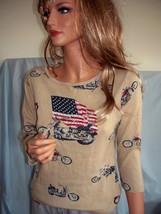 M Medium Beige Biker Flag USA Spring Summer T-Shirt Pullover Top Embelli... - $14.99