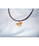 NEW Full Gold Horse Charm Black Cord Necklace can adjust length  - $9.99