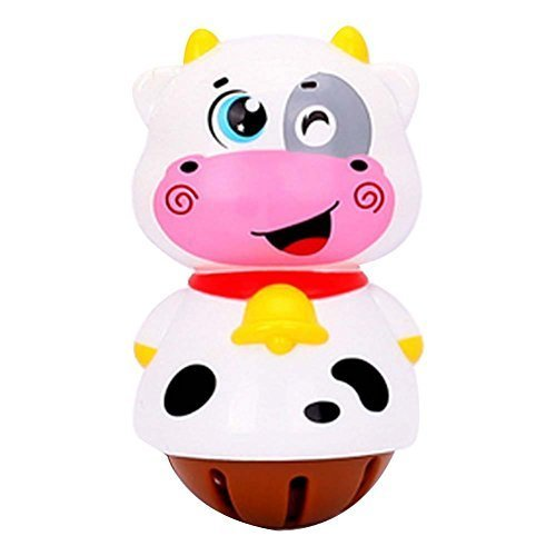 2 Pcs 3D Colorful Cow Cartoon Baby Toys Plastic Hand Bell Infant Rattles