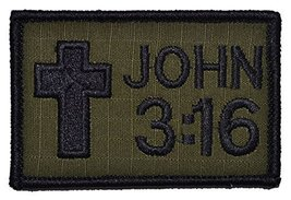 John 3:16 With Cross 2x3 Bible Patch - Olive Drab OD - $4.89
