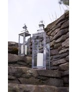 "Set of 2 Modern Stainless Steel Glass Pillar Candle Lanterns 25"" - $118.50"