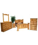 Honey Rustic Cross Bedroom Set  Western Real Solid Wood King Queen Lodge... - $2,668.05+