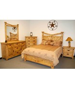 Rustic Santa Fe Bedroom Set Queen Real Wood Western Cabin Lodge Southwes... - $2,474.01