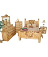 Queen Size Lone Star Bedroom Set Real Solid Wood Western Cabin Lodge - $2,375.01
