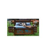 King 3 Piece Turquoise Copper Bedroom Set Real Wood Brazilian Pine Rusti... - $2,969.99