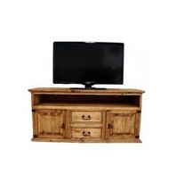 "Rustic 60"" 2 Door 2 Drawer TV Stand Real Wood Flat Screen Console - $593.99"