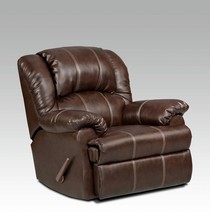 Brown with Cream Stitching Leather Recliner - $770.99