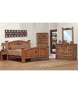 King Size Lone Star Bedroom Set Real Wood Custom Stain 5 Pieces - $2,771.01