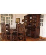 Dark Rustic Dining Room Set 8 piece Set Western Cabin Lodge Real Solid Wood - $2,870.99