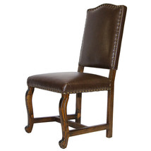Sierra Madre Chocolate Leather Upholstered Chair Rustic Western Real Woo... - $296.01