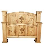 Rustic Mansion Cross Bed King Queen Full Real Solid Wood Cabin Lodge Wes... - $989.99+