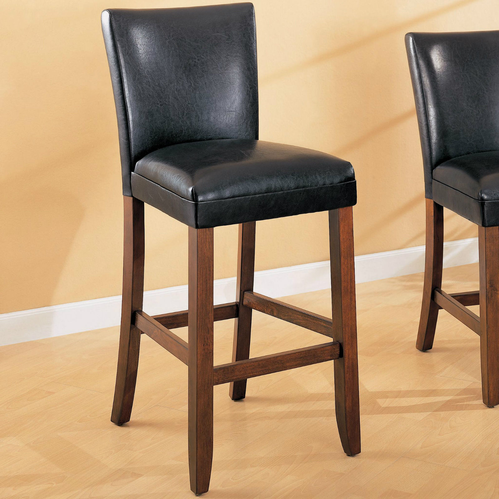 "29"" Faux Black Leather Bar Stool Chair"